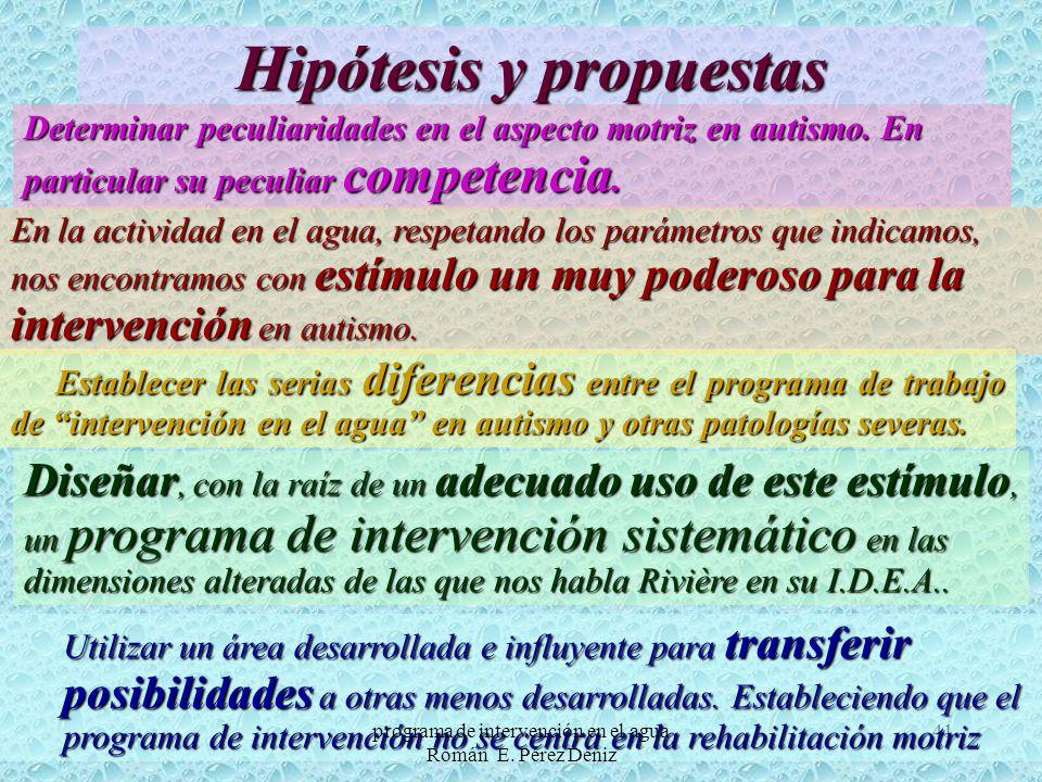 41 Hipótesis y propuestas Determinar peculiaridades en el aspecto motriz en autismo. En particular su peculiar competencia. En la actividad en el agua