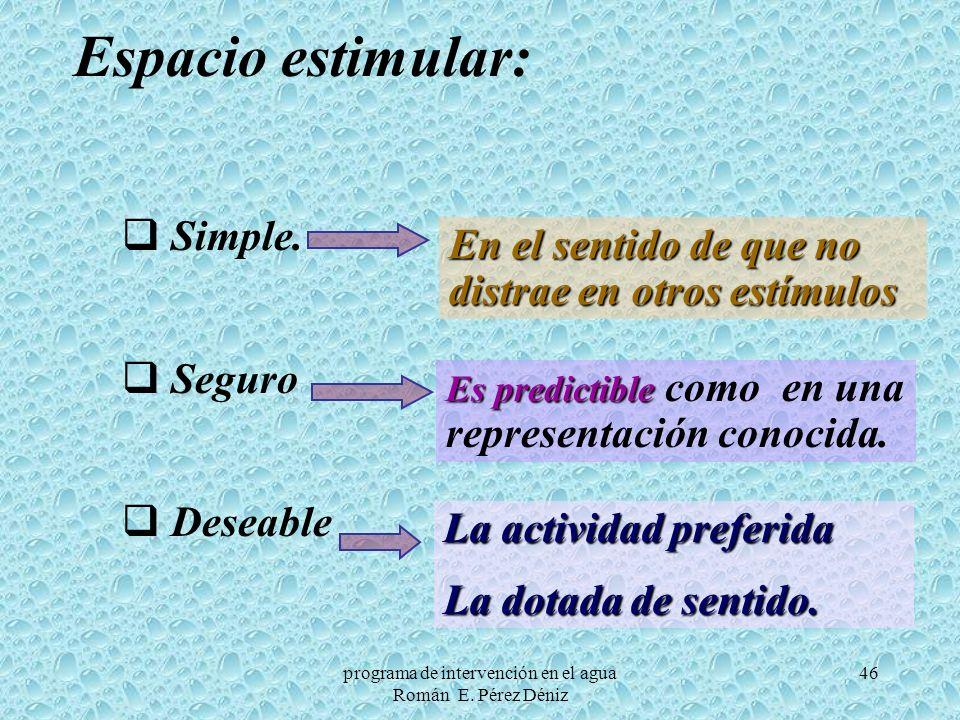 46 Espacio estimular: Simple. Seguro Deseable En el sentido de que no distrae en otros estímulos Es predictible Es predictible como en una representac