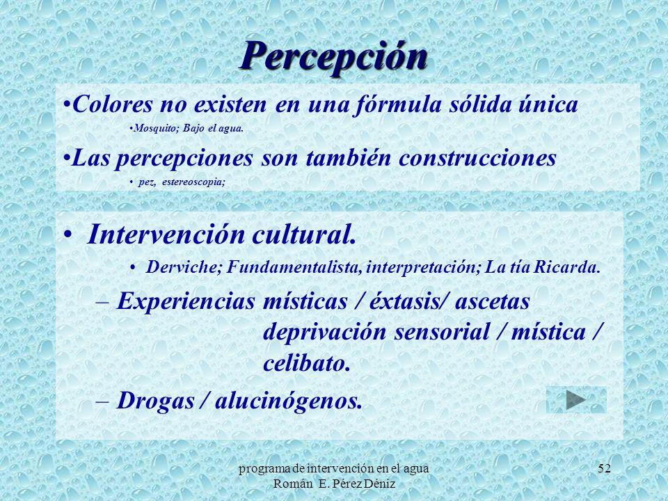 52 Percepción Intervención cultural. Derviche; Fundamentalista, interpretación; La tía Ricarda. –Experiencias místicas / éxtasis/ ascetas deprivación