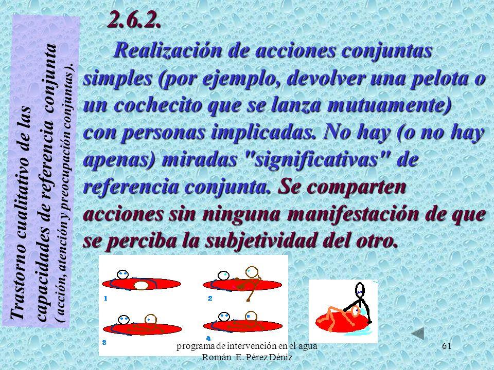 61 Trastorno cualitativo de las capacidades de referencia conjunta ( acción, atención y preocupación conjuntas ). 2.6.2. Realización de acciones conju