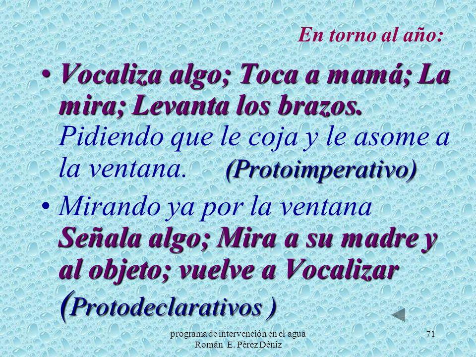 71 En torno al año: Vocaliza algo; Toca a mamá; La mira; Levanta los brazos. (Protoimperativo)Vocaliza algo; Toca a mamá; La mira; Levanta los brazos.