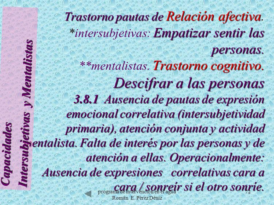 72 Trastorno pautas de Relación afectiva. Empatizar sentir las personas. Trastorno cognitivo. Descifrar a las personas 3.8.1 Ausencia de pautas de exp