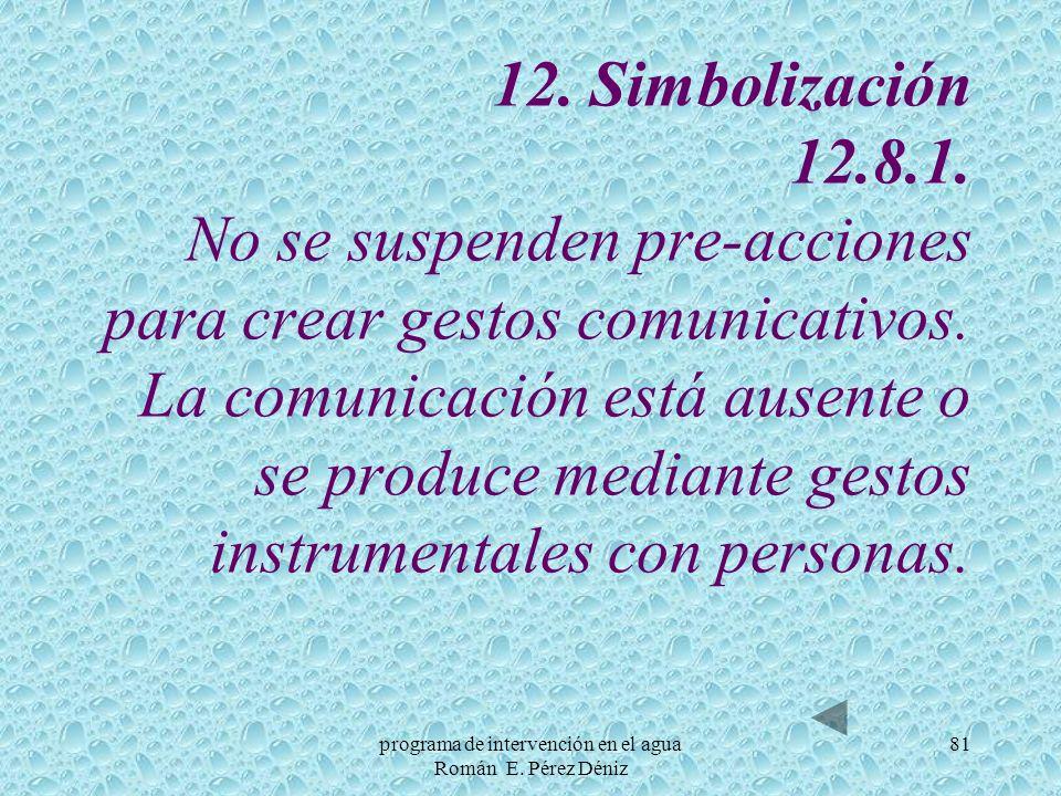 81 12. Simbolización 12.8.1. No se suspenden pre acciones para crear gestos comunicativos. La comunicación está ausente o se produce mediante gestos i