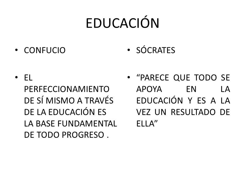 EDUCACIÓN CONFUCIO EL PERFECCIONAMIENTO DE SÍ MISMO A TRAVÉS DE LA EDUCACIÓN ES LA BASE FUNDAMENTAL DE TODO PROGRESO. SÓCRATES PARECE QUE TODO SE APOY