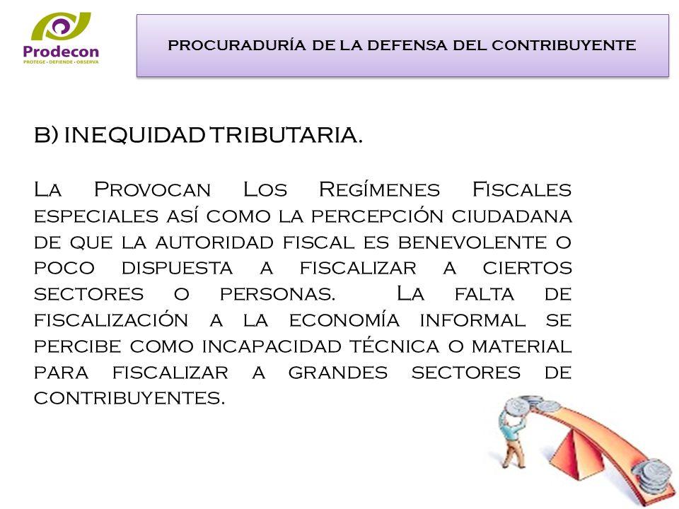 B) INEQUIDAD TRIBUTARIA.