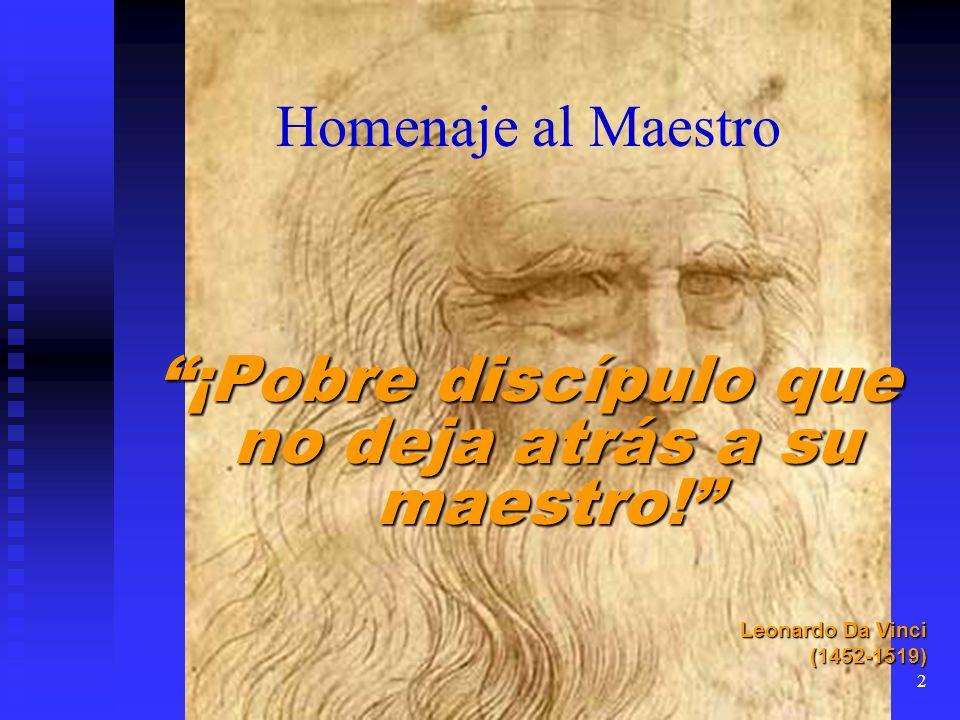Homenaje al Maestro ¡Pobre discípulo que no deja atrás a su maestro! Leonardo Da Vinci (1452-1519) 2
