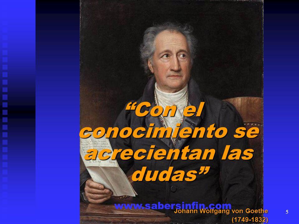 Con el conocimiento se acrecientan las dudas Johann Wolfgang von Goethe (1749-1832) www.sabersinfin.com 5