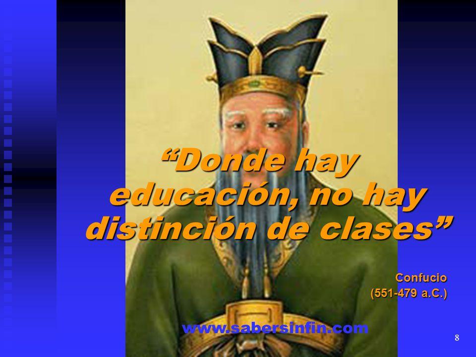 Donde hay educación, no hay distinción de clases Confucio (551-479 a.C.) www.sabersinfin.com 8