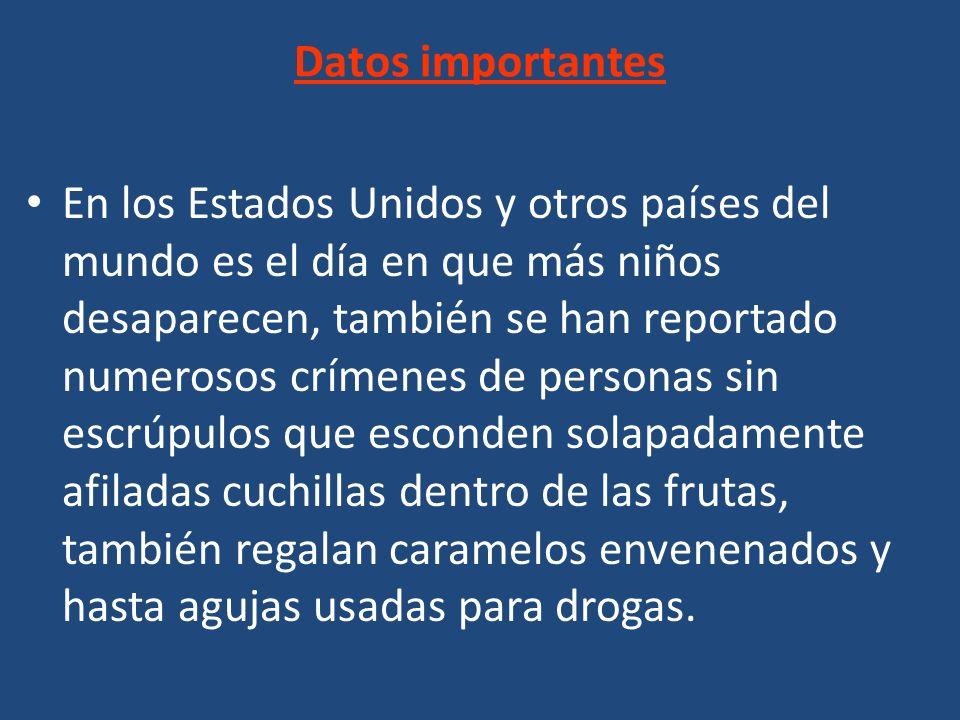 En los Estados Unidos y otros países del mundo es el día en que más niños desaparecen, también se han reportado numerosos crímenes de personas sin esc
