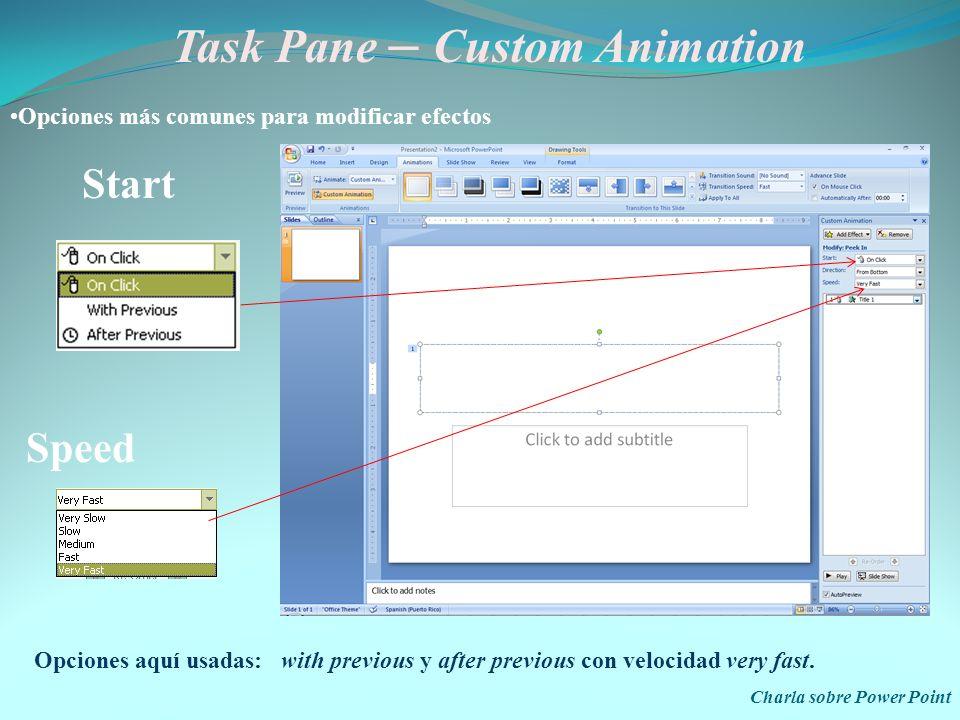 Task Pane – Custom Animation Charla sobre Power Point Patrones de Movimiento Diagonal down right Down Left Right Up Diagonal up right