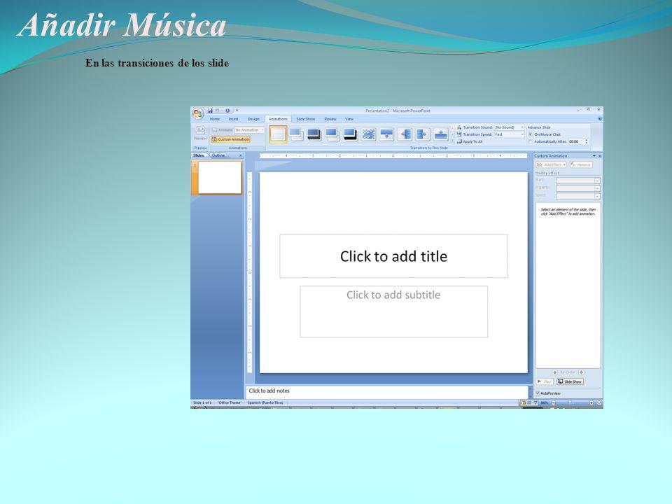 Añadir Música Charla sobre Power Point Insertar un sonido particular Insertar un sonido del Clip Art Tocar una cancion de un CD Para un slide solament