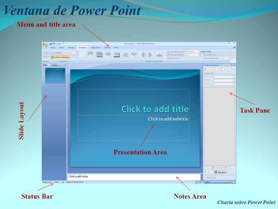 Charla sobre Power Point Está dividida en: Menu and Title area Toolbar area Slide layout task pane area Presentation area Task Pane Notes area Status