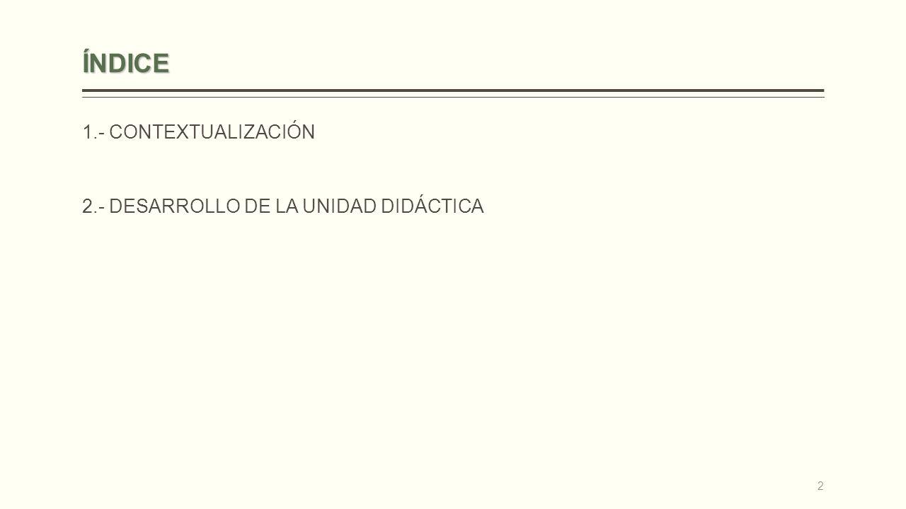 ÍNDICE 1.- CONTEXTUALIZACIÓN 2.- DESARROLLO DE LA UNIDAD DIDÁCTICA 2