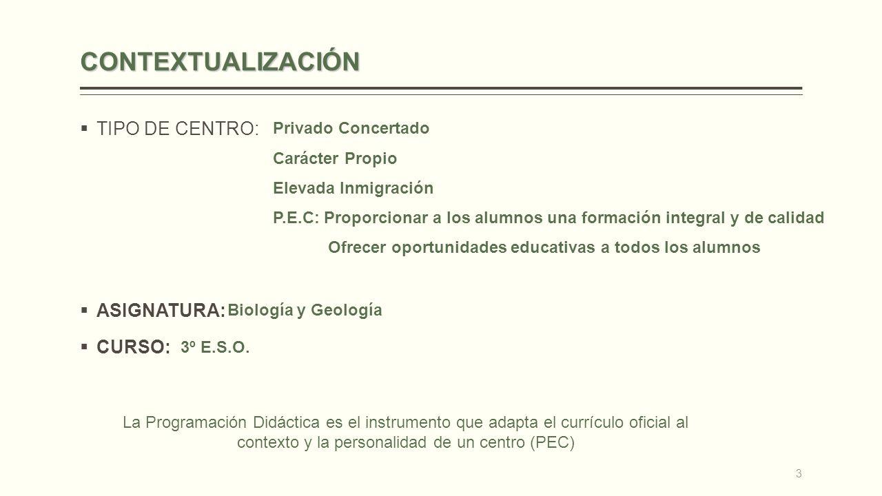 CONTEXTUALIZACIÓN TIPO DE CENTRO: ASIGNATURA: CURSO: Privado Concertado Carácter Propio Elevada Inmigración P.E.C: Proporcionar a los alumnos una form