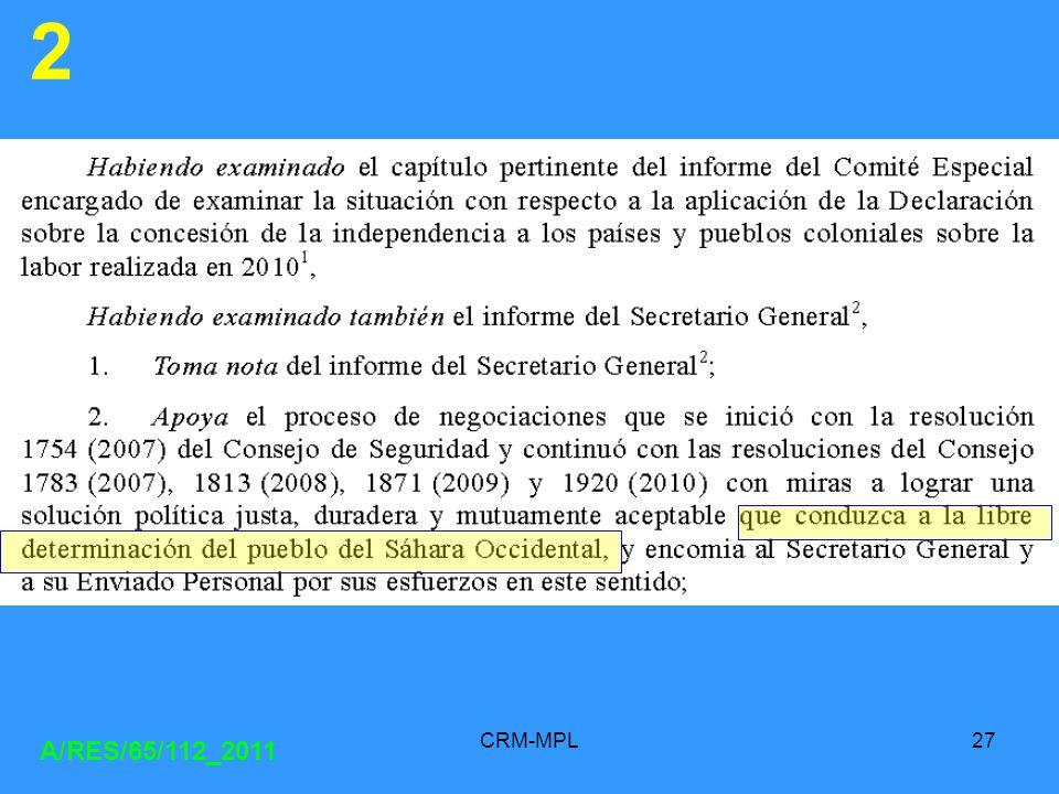 CRM-MPL27 A/RES/65/112_2011 2