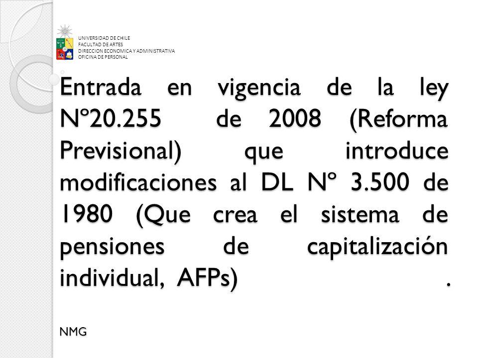 Entrada en vigencia de la ley Nº20.255 de 2008 (Reforma Previsional) que introduce modificaciones al DL Nº 3.500 de 1980 (Que crea el sistema de pensiones de capitalización individual, AFPs).