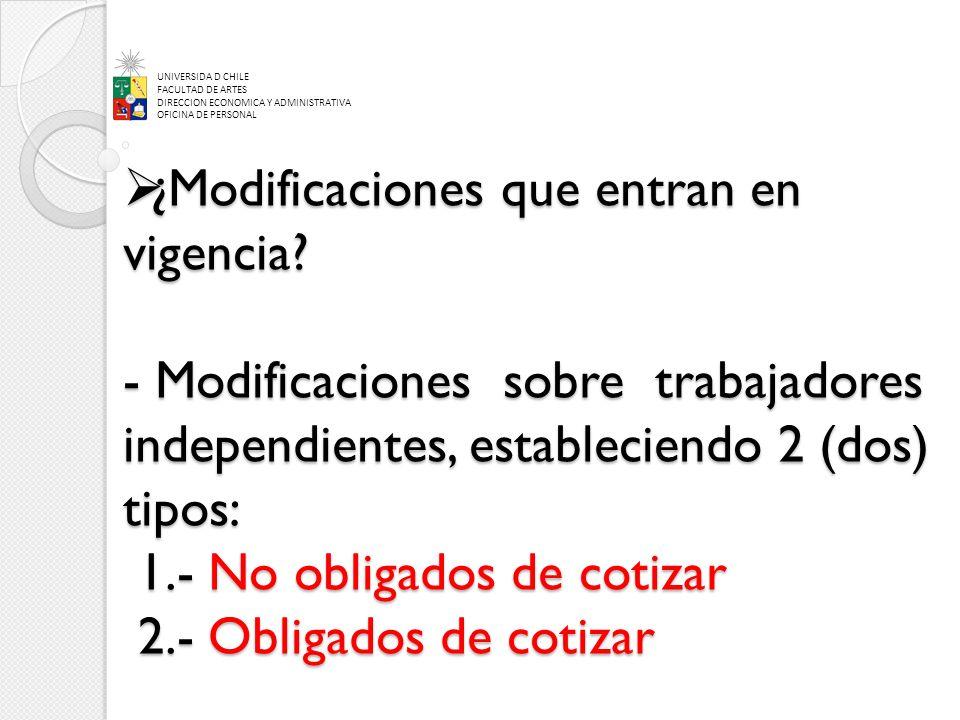 ¿Modificaciones que entran en vigencia? - Modificaciones sobre trabajadores independientes, estableciendo 2 (dos) tipos: 1.- No obligados de cotizar 2