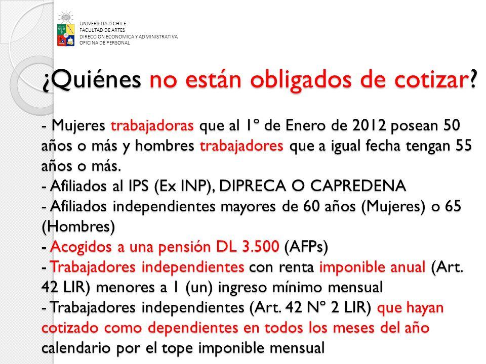 ¿Quiénes no están obligados de cotizar? - Mujeres trabajadoras que al 1º de Enero de 2012 posean 50 años o más y hombres trabajadores que a igual fech