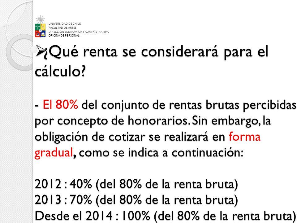 ¿Qué renta se considerará para el cálculo? -del conjunto de rentas brutas percibidas por concepto de honorarios. Sin embargo, la obligación de cotizar