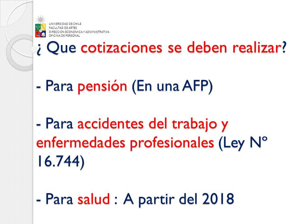 ¿ Que cotizaciones se deben realizar? - Para pensión (En una AFP) - Para accidentes del trabajo y enfermedades profesionales (Ley Nº 16.744) - Para sa