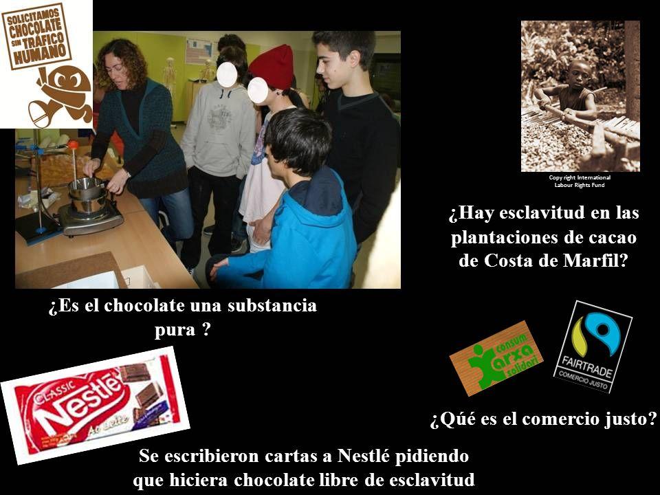 ¿Es el chocolate una substancia pura ? Copy right International Labour Rights Fund ¿Hay esclavitud en las plantaciones de cacao de Costa de Marfil? ¿Q