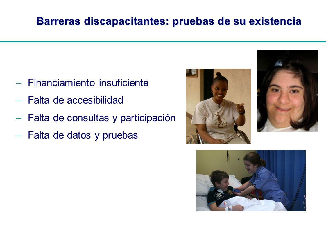 | Barreras discapacitantes: pruebas de su existencia Financiamiento insuficiente Falta de accesibilidad Falta de consultas y participación Falta de da