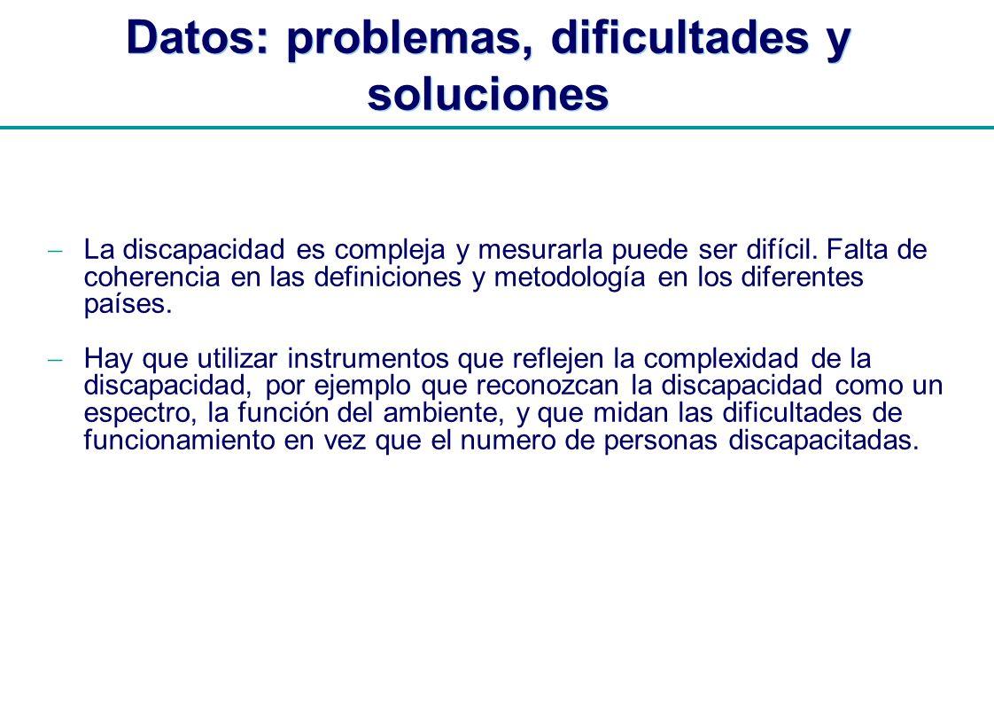 | Datos: problemas, dificultades y soluciones La discapacidad es compleja y mesurarla puede ser difícil. Falta de coherencia en las definiciones y met