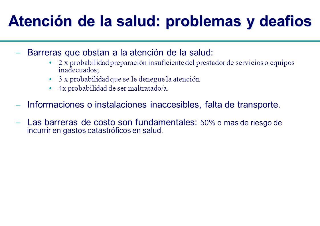 | Atención de la salud: problemas y deafios Barreras que obstan a la atención de la salud: 2 x probabilidad preparación insuficiente del prestador de