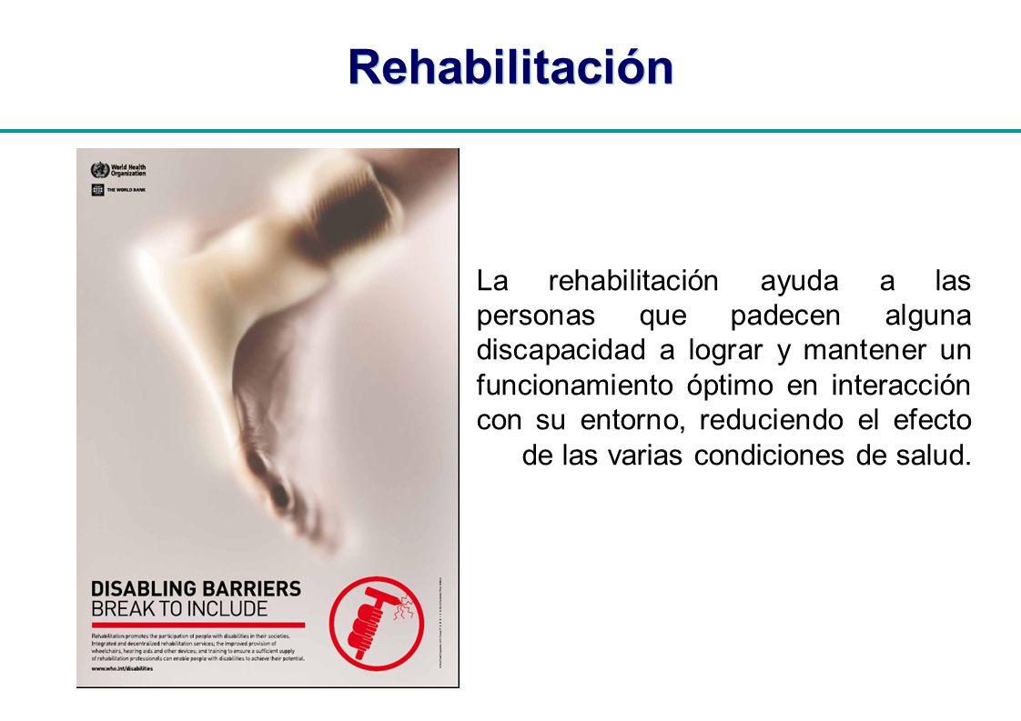 | Rehabilitación La rehabilitación ayuda a las personas que padecen alguna discapacidad a lograr y mantener un funcionamiento óptimo en interacción co