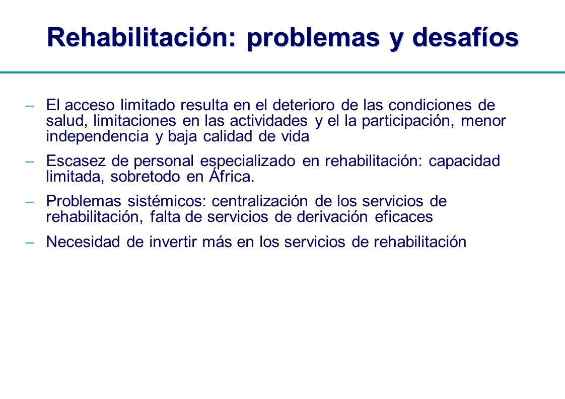 | Rehabilitación: problemas y desafíos El acceso limitado resulta en el deterioro de las condiciones de salud, limitaciones en las actividades y el la