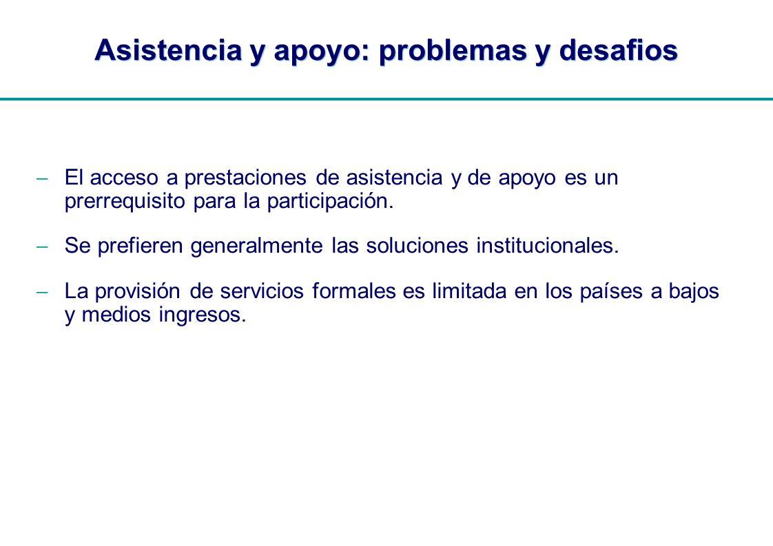 | Asistencia y apoyo: problemas y desafios El acceso a prestaciones de asistencia y de apoyo es un prerrequisito para la participación. Se prefieren g