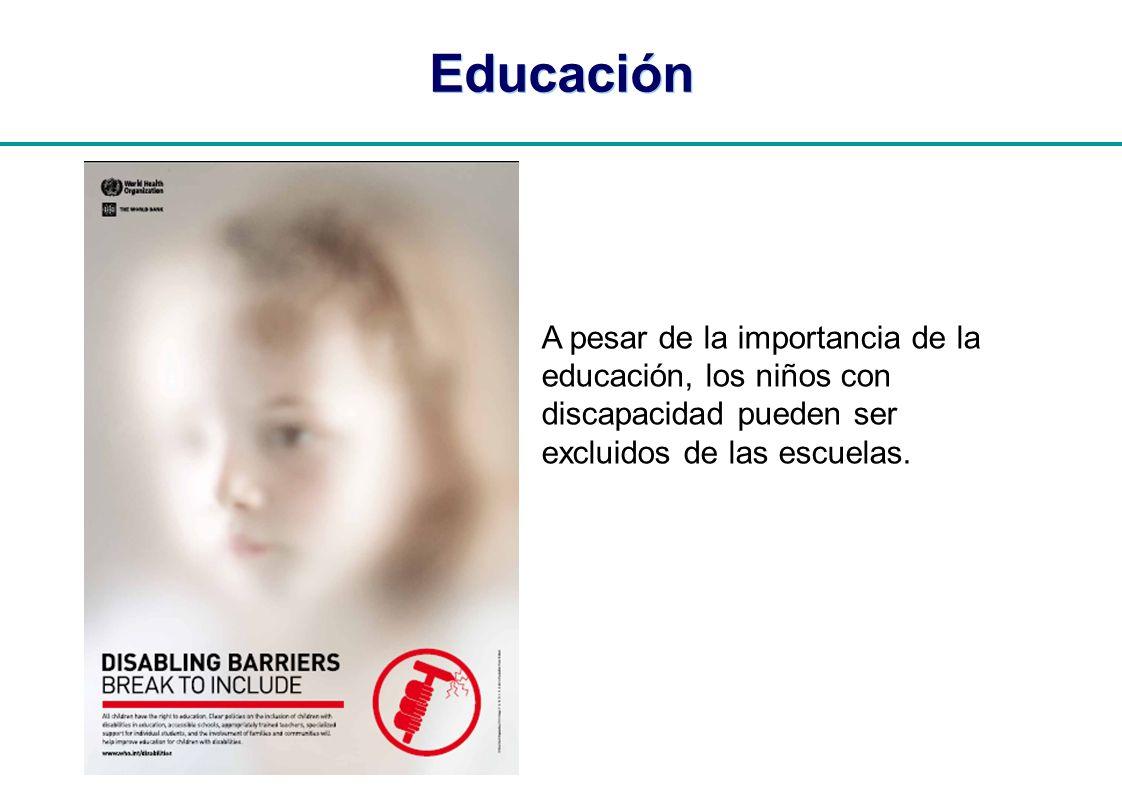 | Educación A pesar de la importancia de la educación, los niños con discapacidad pueden ser excluidos de las escuelas.