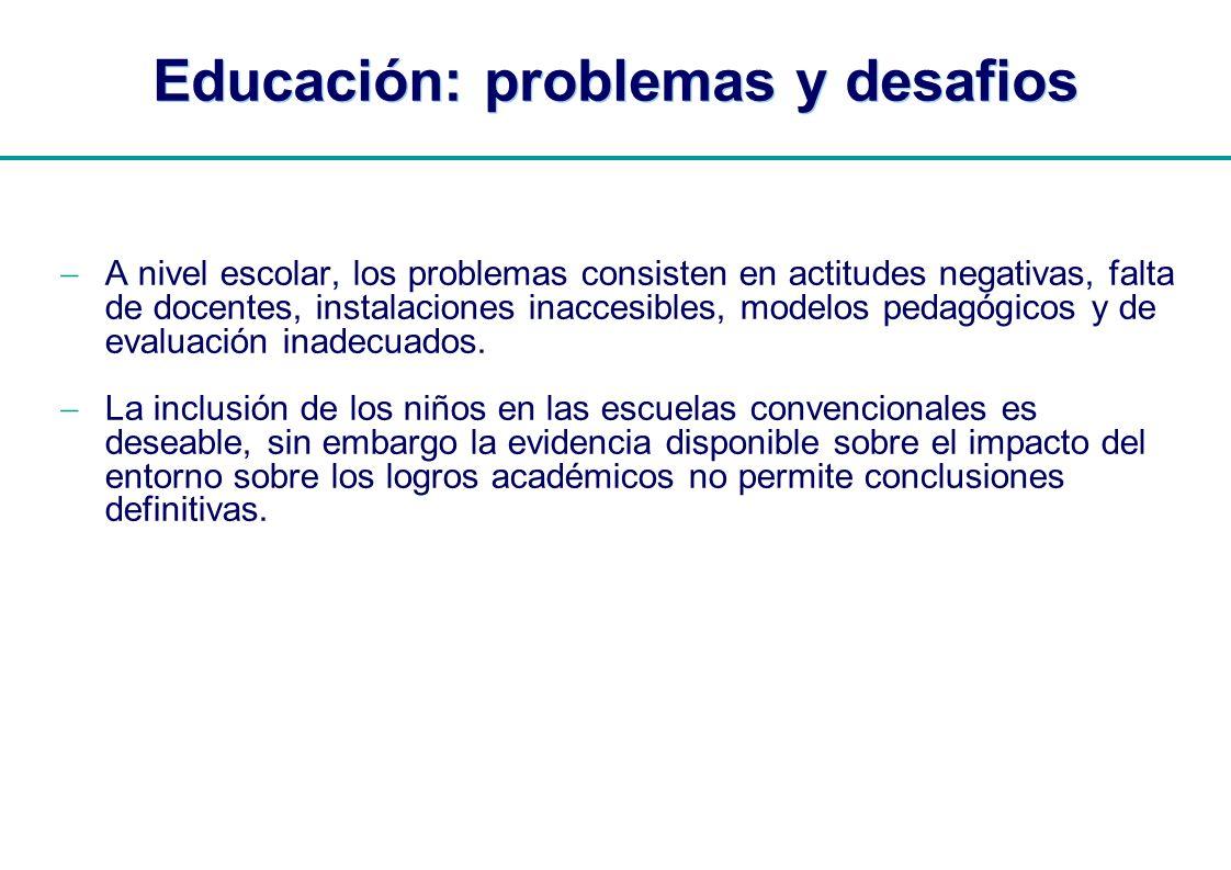 | Educación: problemas y desafios A nivel escolar, los problemas consisten en actitudes negativas, falta de docentes, instalaciones inaccesibles, mode