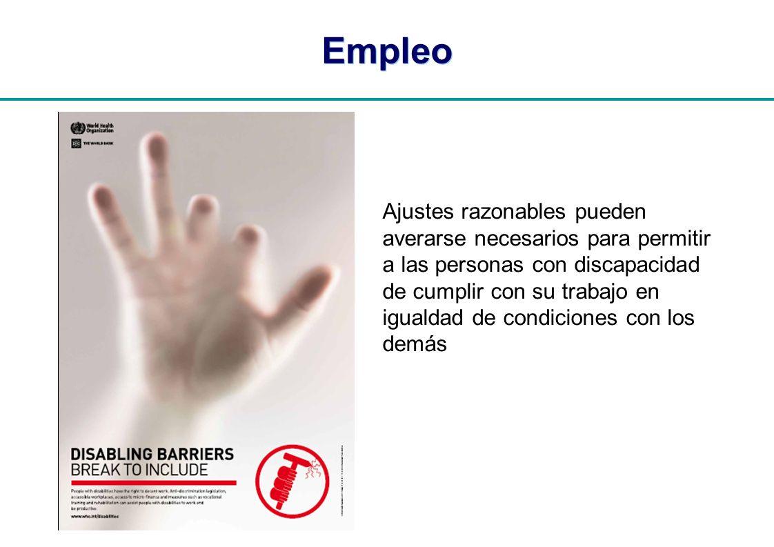 | Empleo Ajustes razonables pueden averarse necesarios para permitir a las personas con discapacidad de cumplir con su trabajo en igualdad de condicio