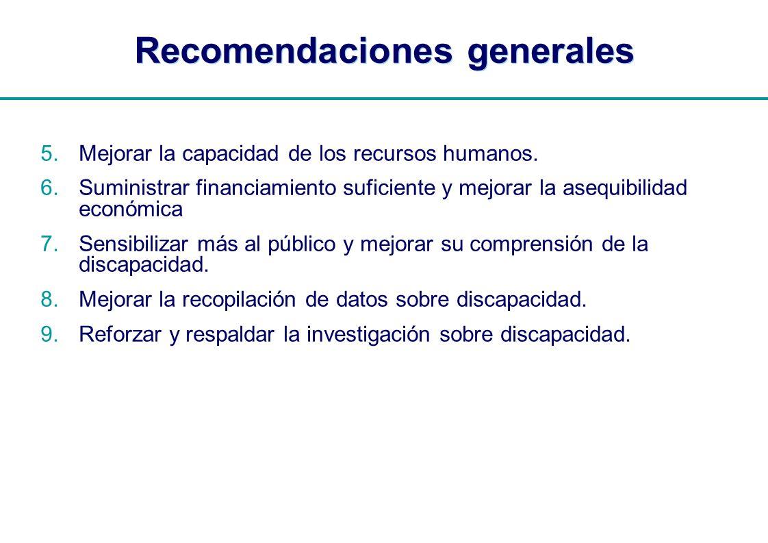 | Recomendaciones generales 5.Mejorar la capacidad de los recursos humanos. 6.Suministrar financiamiento suficiente y mejorar la asequibilidad económi