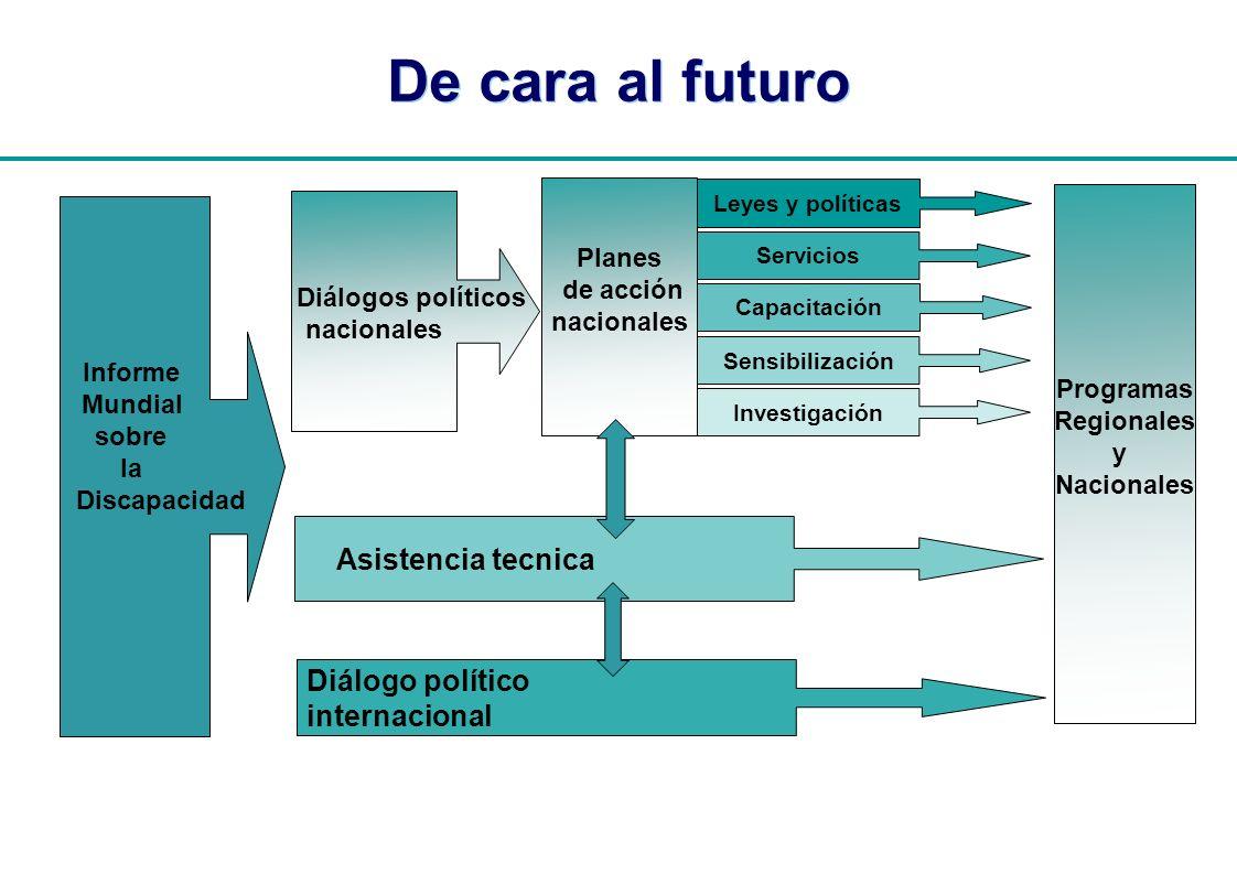 | Planes de acción nacionales Informe Mundial sobre la Discapacidad Programas Regionales y Nacionales De cara al futuro Investigación Diálogos polític