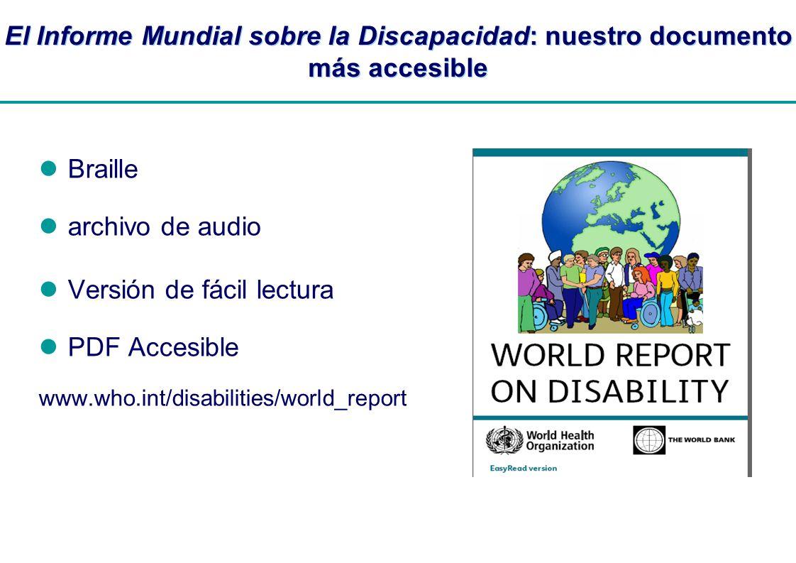 | El Informe Mundial sobre la Discapacidad: nuestro documento más accesible Braille archivo de audio Versión de fácil lectura PDF Accesible www.who.in