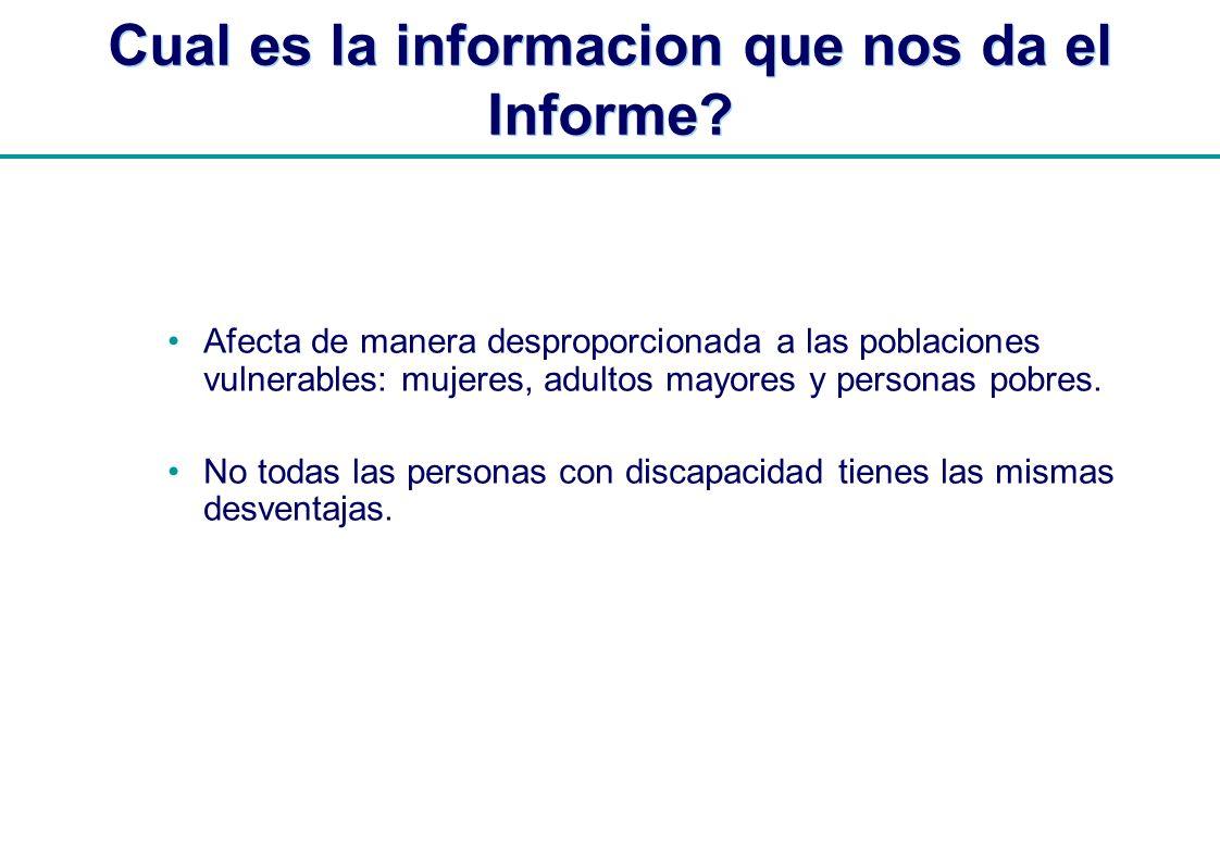 | Cual es la informacion que nos da el Informe? Afecta de manera desproporcionada a las poblaciones vulnerables: mujeres, adultos mayores y personas p