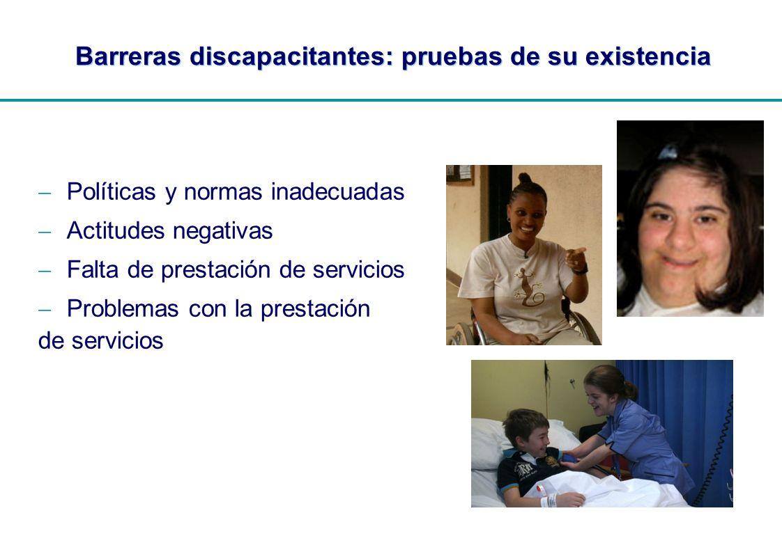 | Barreras discapacitantes: pruebas de su existencia Políticas y normas inadecuadas Actitudes negativas Falta de prestación de servicios Problemas con