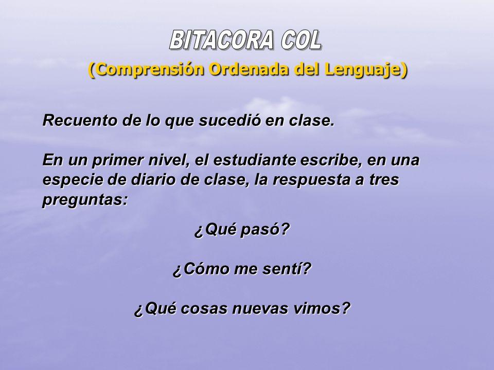 (Comprensión Ordenada del Lenguaje) Recuento de lo que sucedió en clase. En un primer nivel, el estudiante escribe, en una especie de diario de clase,