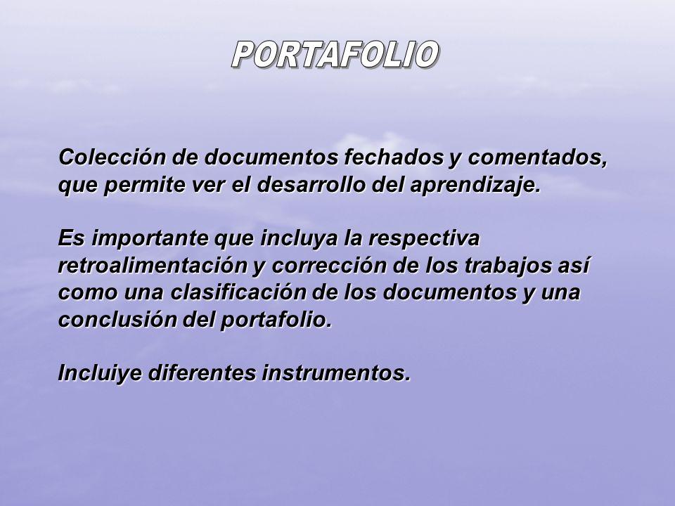 Colección de documentos fechados y comentados, que permite ver el desarrollo del aprendizaje. Es importante que incluya la respectiva retroalimentació