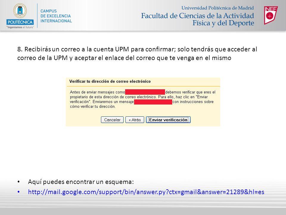 8. Recibirás un correo a la cuenta UPM para confirmar; solo tendrás que acceder al correo de la UPM y aceptar el enlace del correo que te venga en el