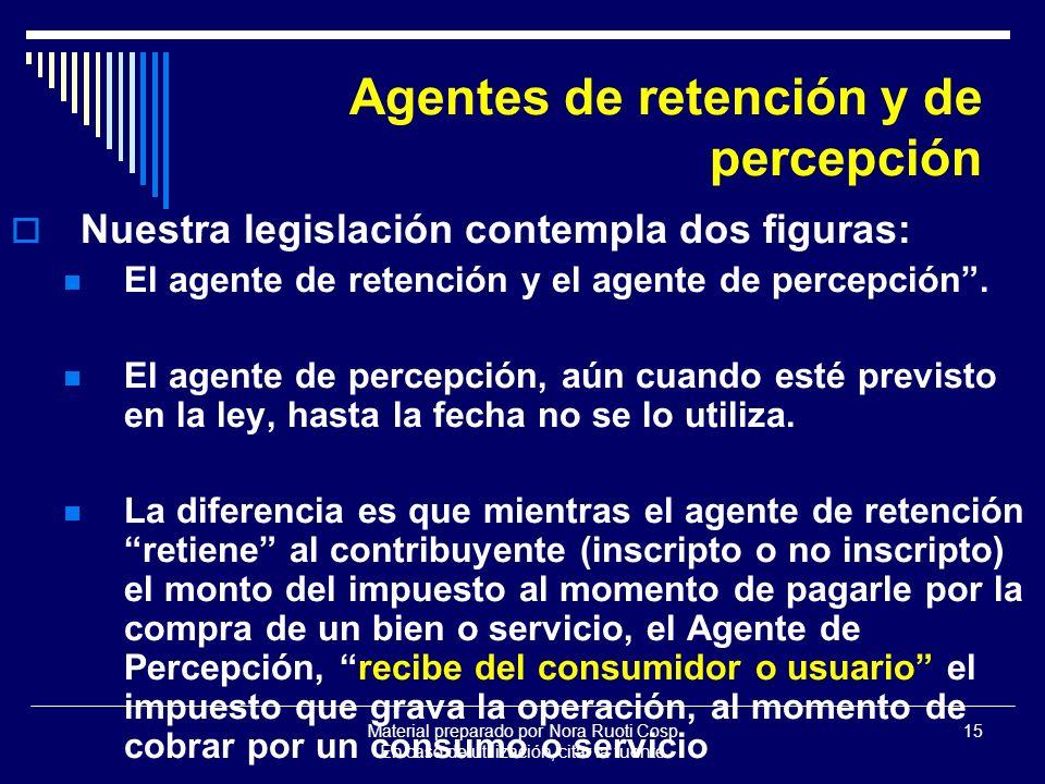 Material preparado por Nora Ruoti Cosp En caso de utilización, citar la fuente 15 Agentes de retención y de percepción Nuestra legislación contempla dos figuras: El agente de retención y el agente de percepción.