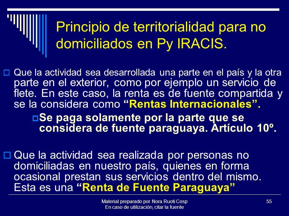 Material preparado por Nora Ruoti Cosp En caso de utilización, citar la fuente 55 Principio de territorialidad para no domiciliados en Py IRACIS.