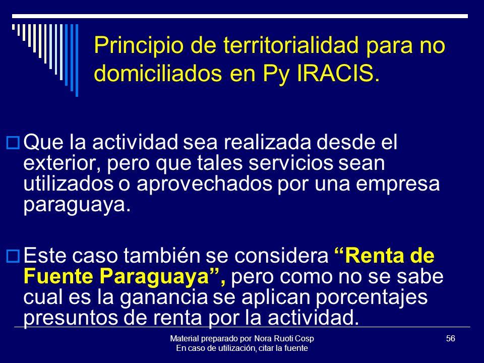 Material preparado por Nora Ruoti Cosp En caso de utilización, citar la fuente 56 Principio de territorialidad para no domiciliados en Py IRACIS.