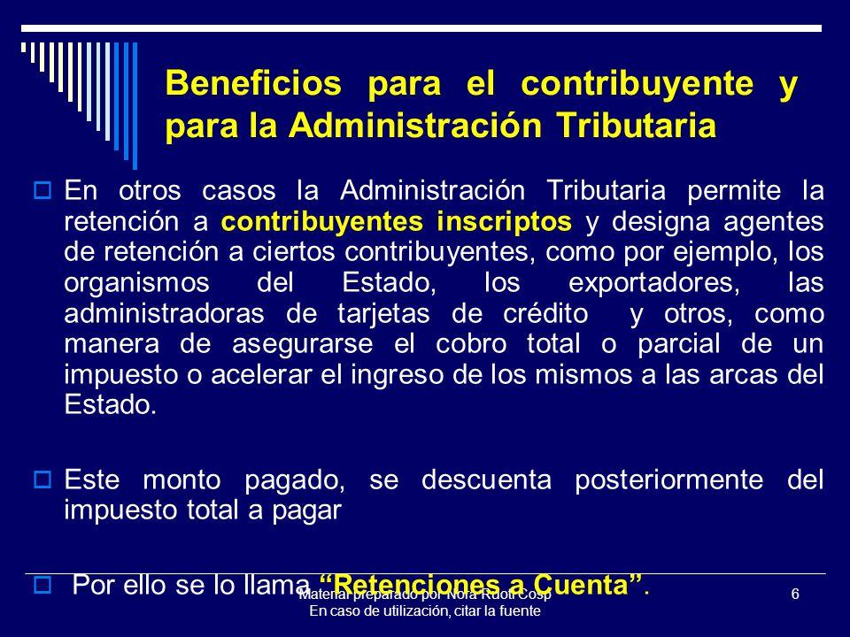 Material preparado por Nora Ruoti Cosp En caso de utilización, citar la fuente 27 TIPOS DE RETENCIONES DEFINITIVAS O DEL REGIMEN ESPECIAL A CUENTA O PROVISIONALES CONTRIBUYENTE CONTRIBUYENTE NO INSCRIPTO ES UN PAGO A CUENTA DEL TRIBUTO CORRESPON- DIENTE AL PERIODO ES UN PAGO UNICO Y DEFINITIVO SUJETO RETENIDO