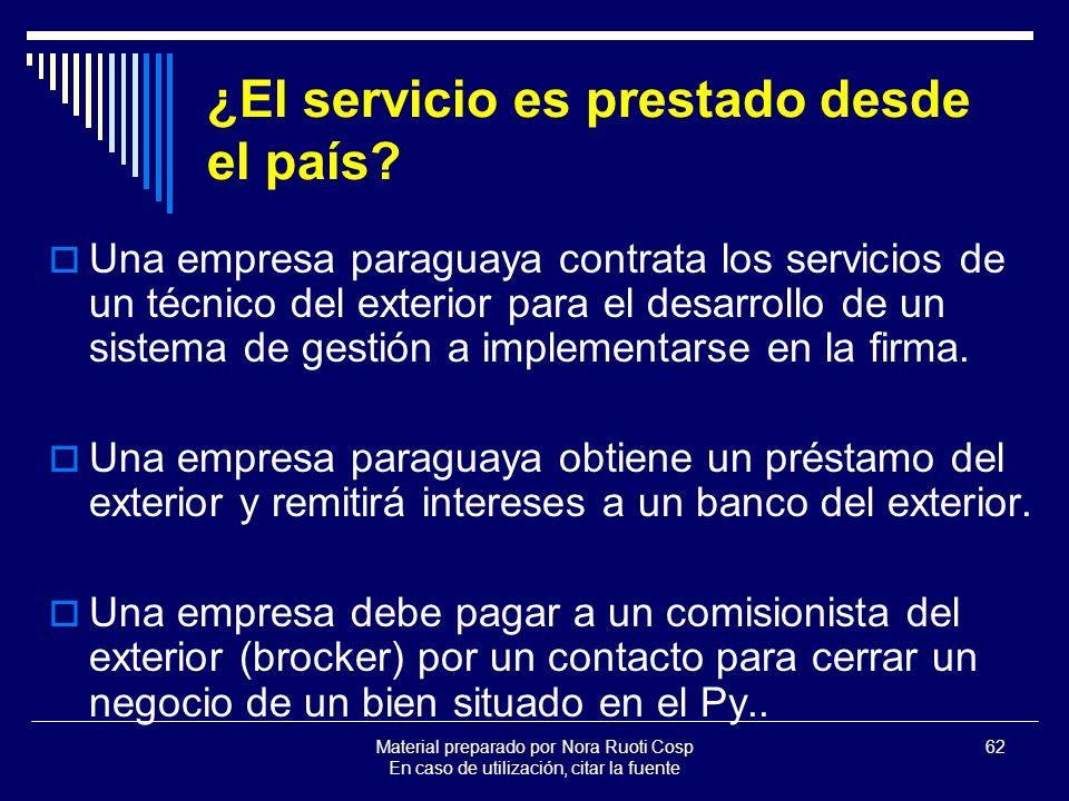 Material preparado por Nora Ruoti Cosp En caso de utilización, citar la fuente 62 ¿El servicio es prestado desde el país.