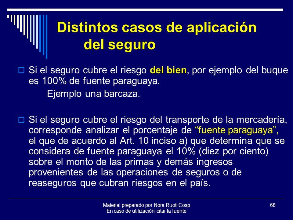 Material preparado por Nora Ruoti Cosp En caso de utilización, citar la fuente 68 Distintos casos de aplicación del seguro Si el seguro cubre el riesgo del bien, por ejemplo del buque es 100% de fuente paraguaya.