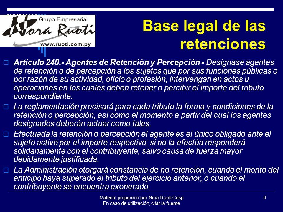 Material preparado por Nora Ruoti Cosp En caso de utilización, citar la fuente 10 BASE LEGAL DE LAS RETENCIONES