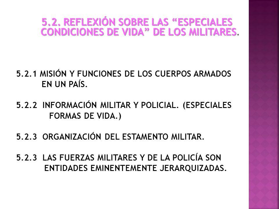 5.2. REFLEXIÓN SOBRE LAS ESPECIALES CONDICIONES DE VIDA DE LOS MILITARES 5.2. REFLEXIÓN SOBRE LAS ESPECIALES CONDICIONES DE VIDA DE LOS MILITARES. 5.2
